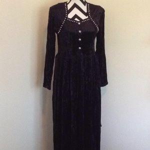 Vntg Roper Western Wear Black Studded Maxi Dress